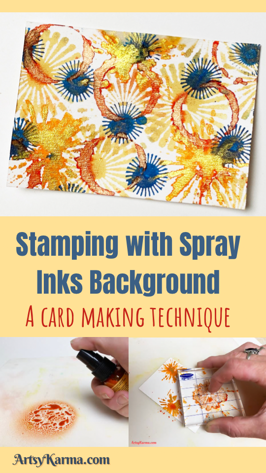 Stamping with spray inks background idea