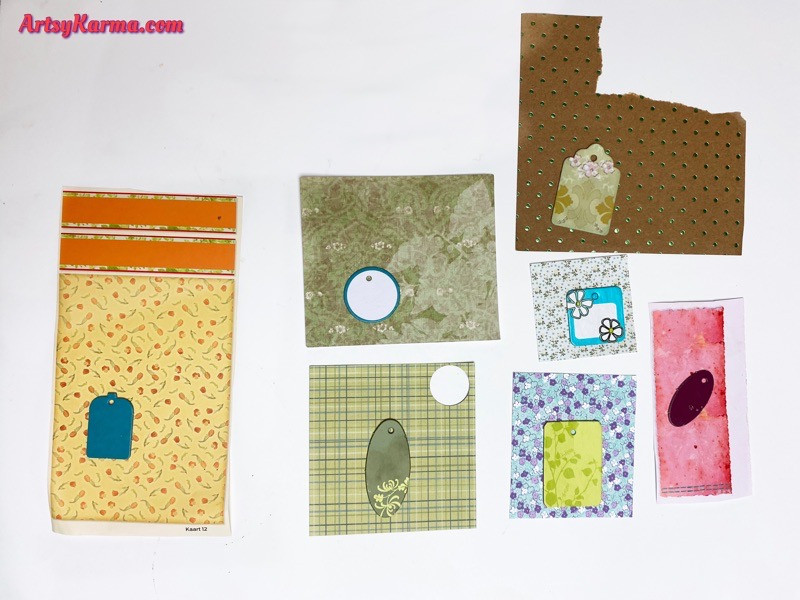 Cover chipboard tags with scrapbook papers
