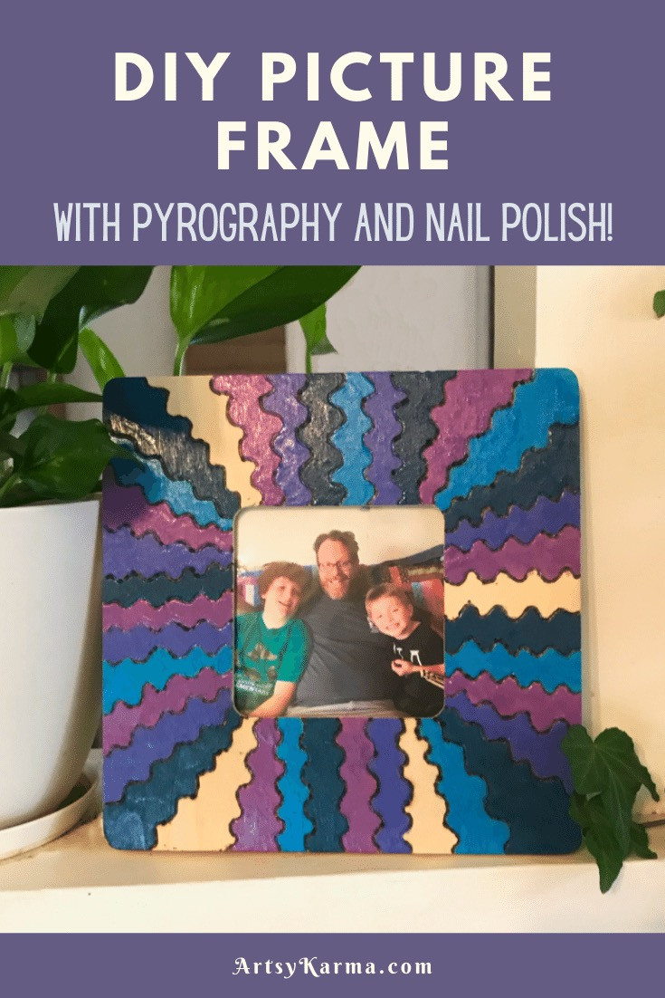 diy picture frame with pyrography and nail polish