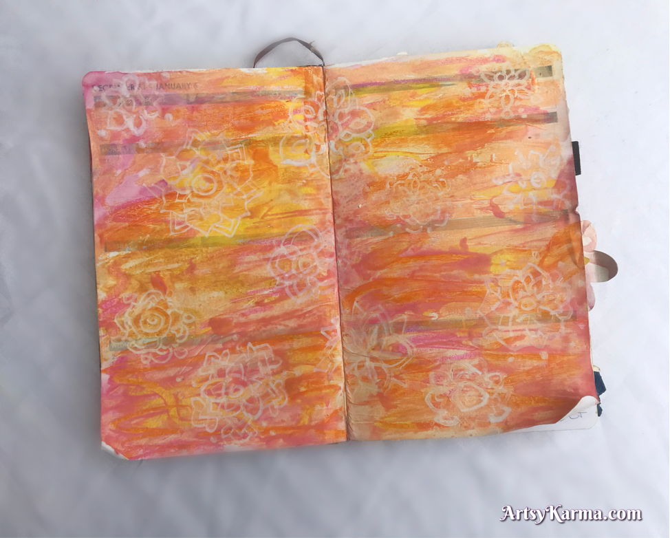 Art journal page using pastel mixed media background technique