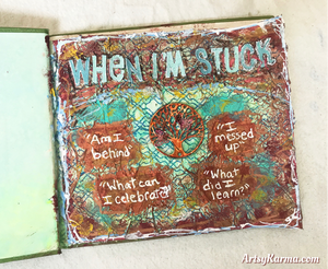 art journal with crumpled tissue background technique