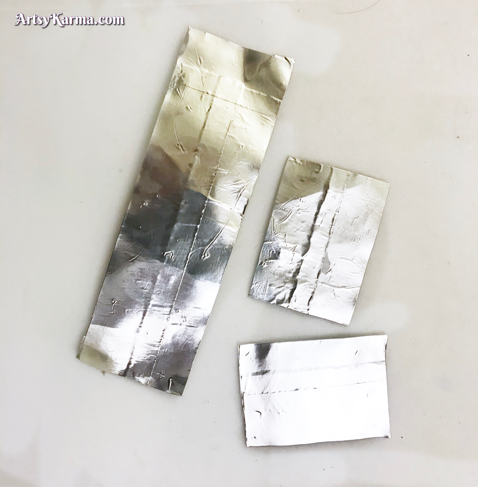 Cover cardstock in metal tape to add inks