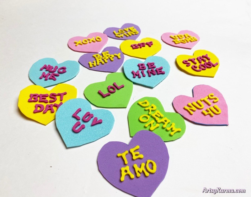 Foam conversation hearts DIY