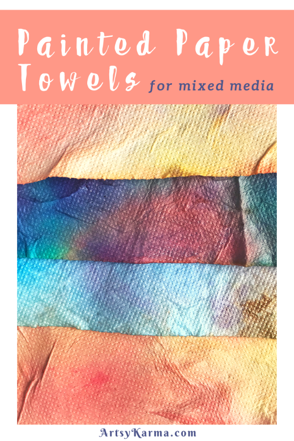 Painted paper towels for mixed media