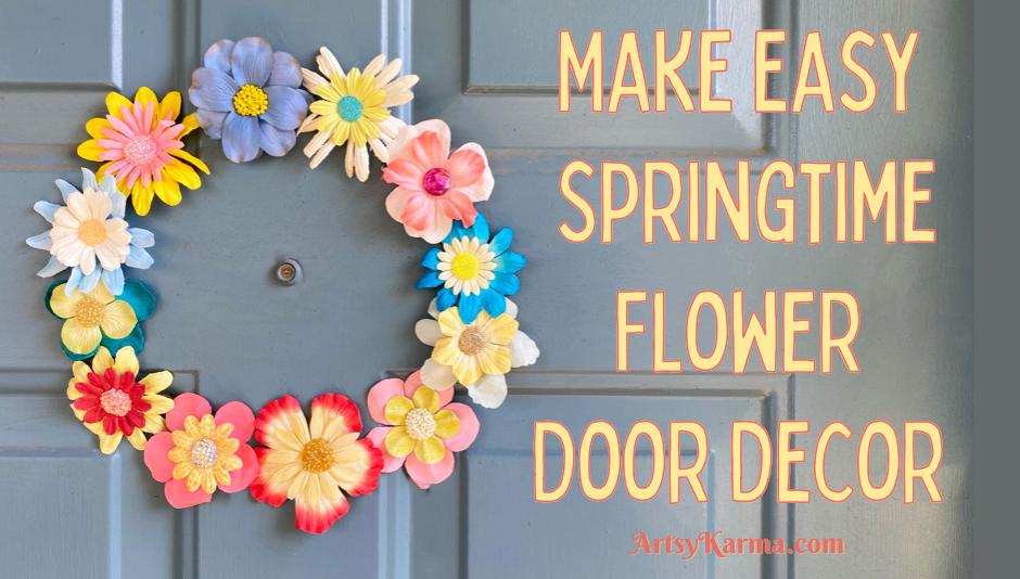 Make easy springtime flower door decor