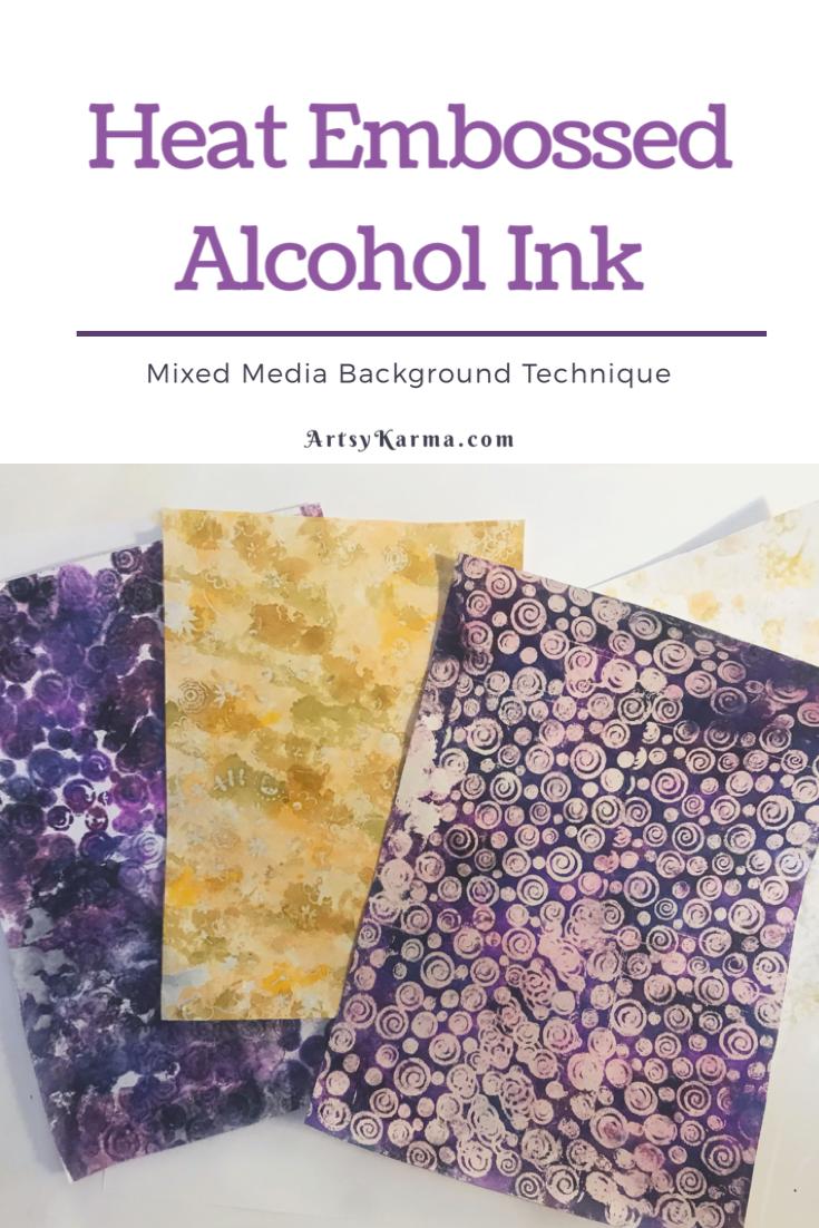 heat embossed alcohol ink technique