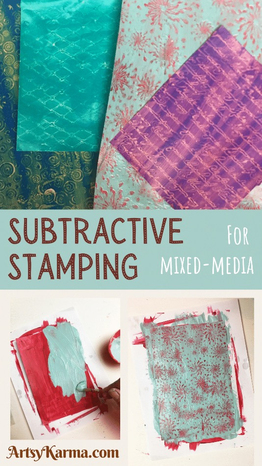 Subtractive stamping for mixed media
