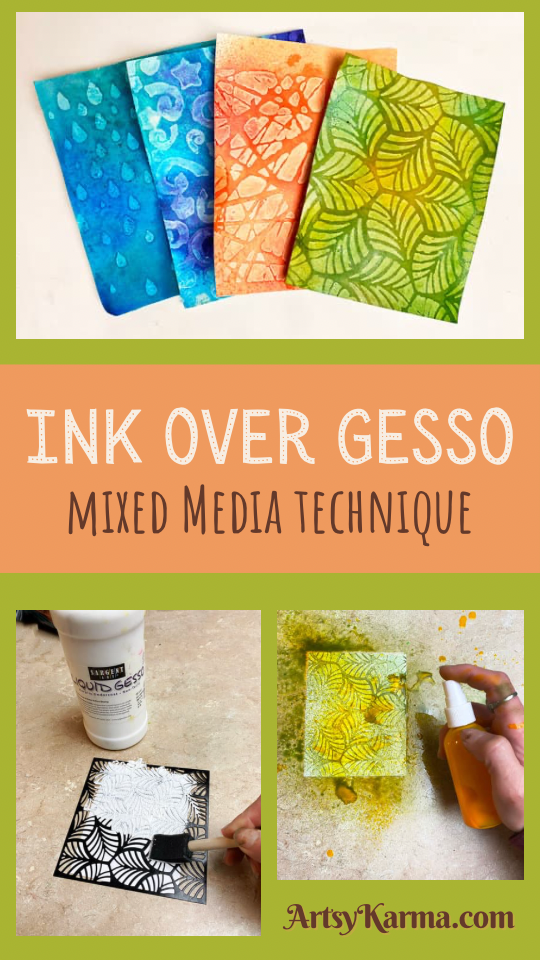Ink over gesso mixed media technique