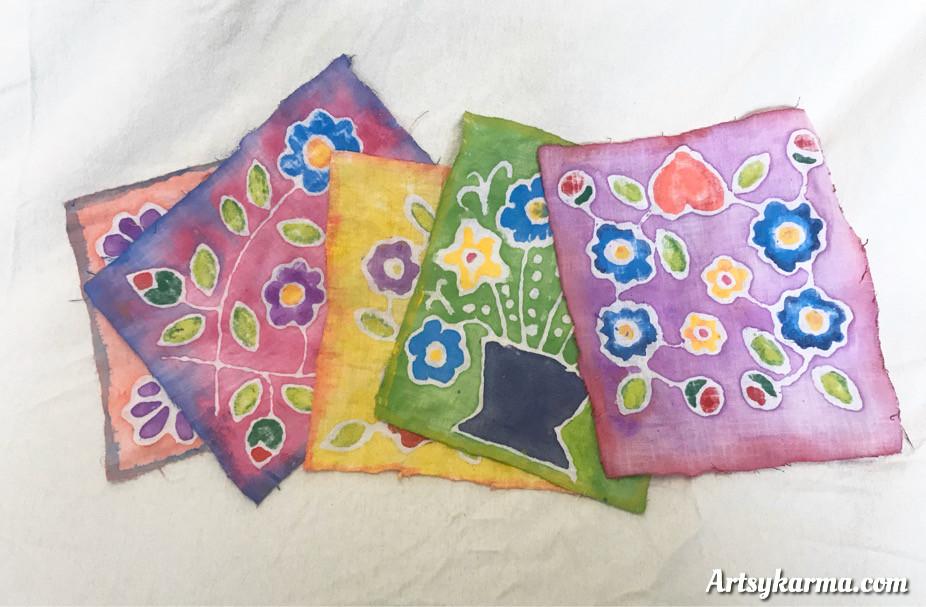 prayer flags made using faux batik technique