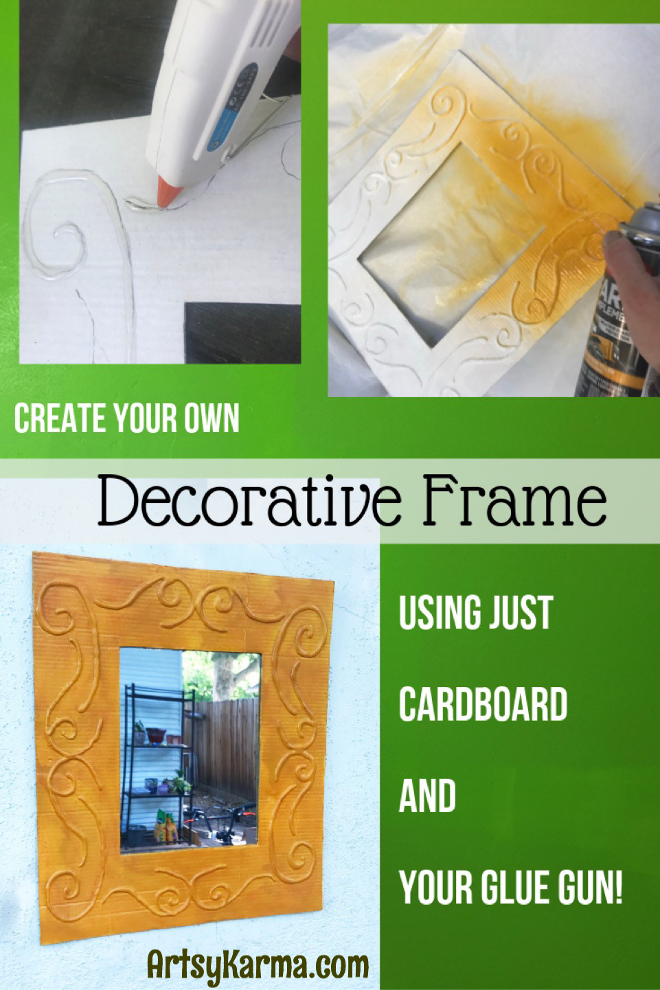 create your own decorative frame using cardboard and a glue gun