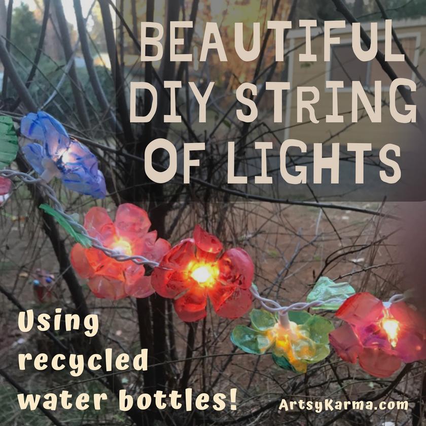 Diy plastic flower lights