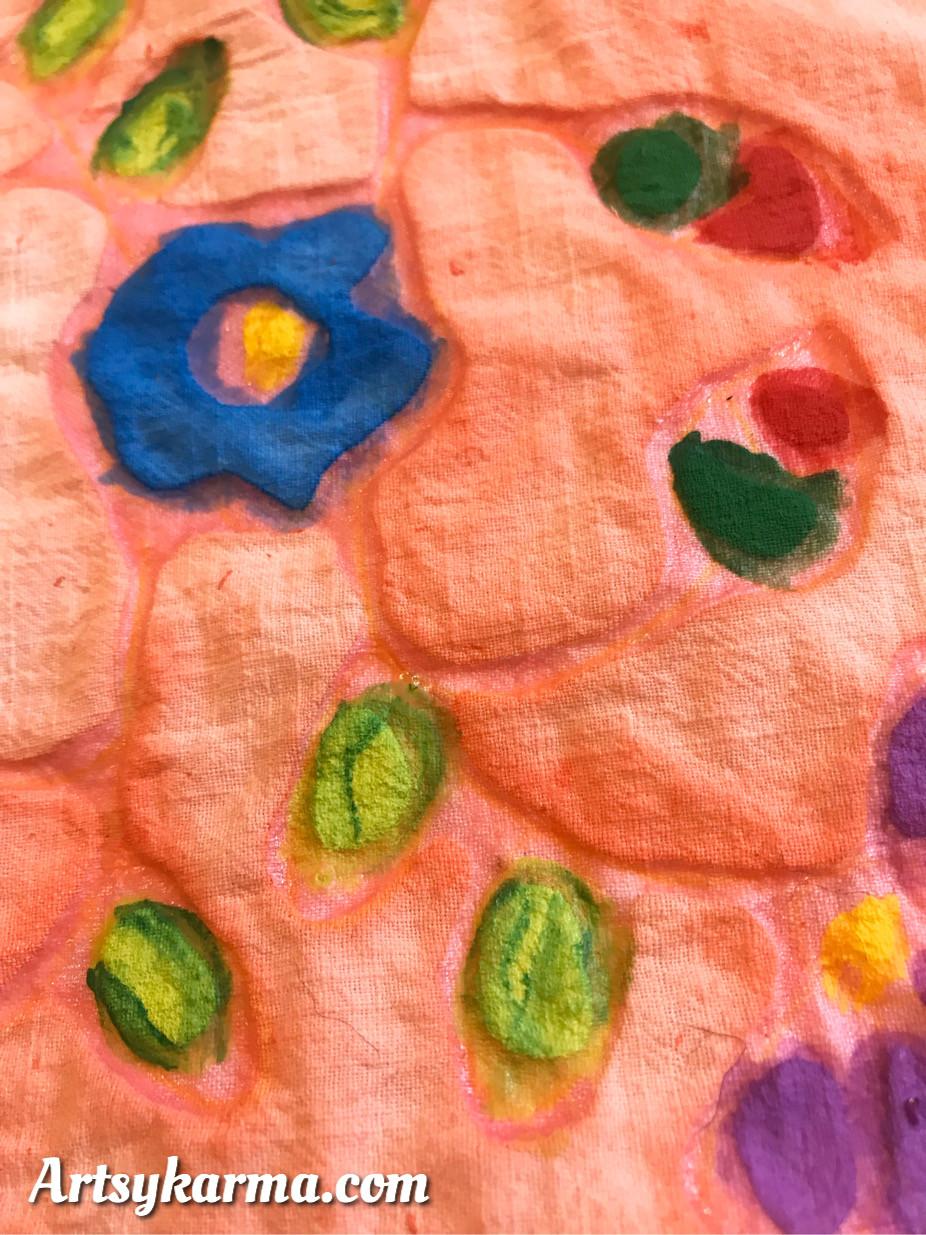 color over gel glue for batik look