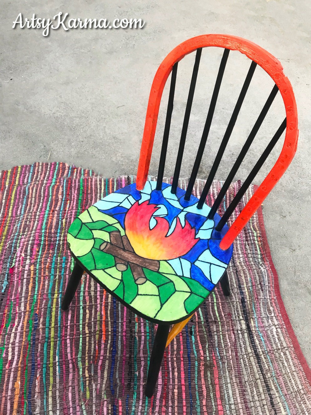 chair makeover in honor of surviving the camp fire