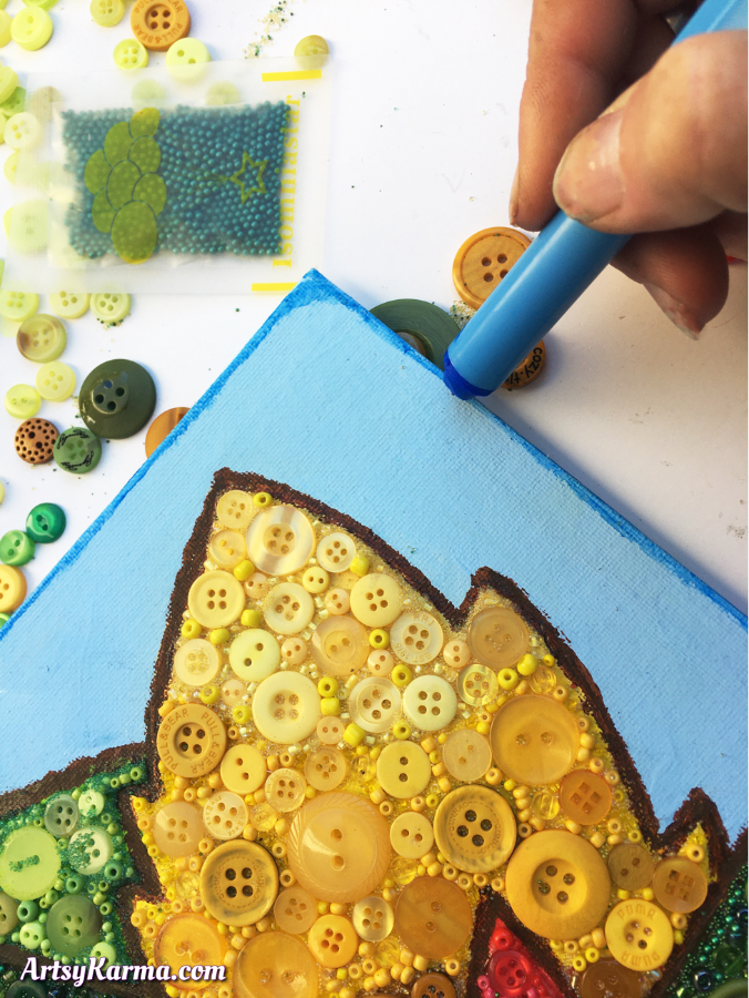 Create a frame around your button art on canvas