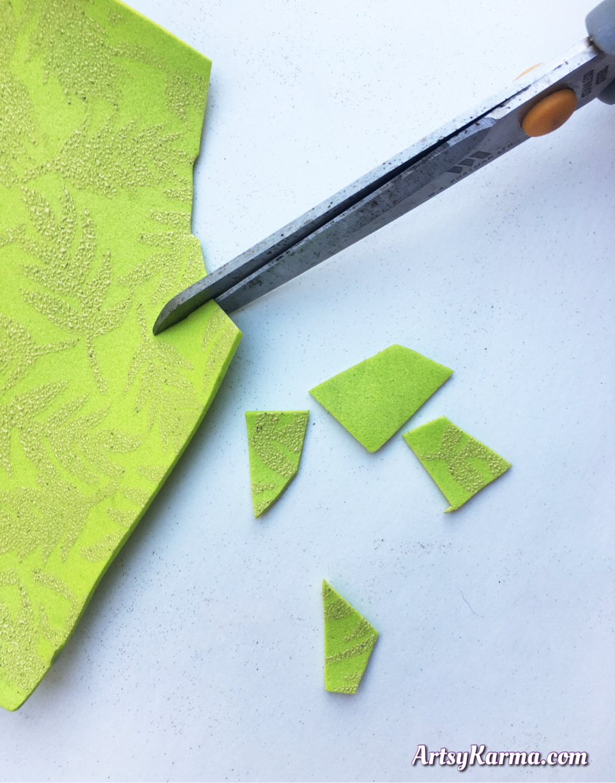 Cut foam to use as mosaic tiles