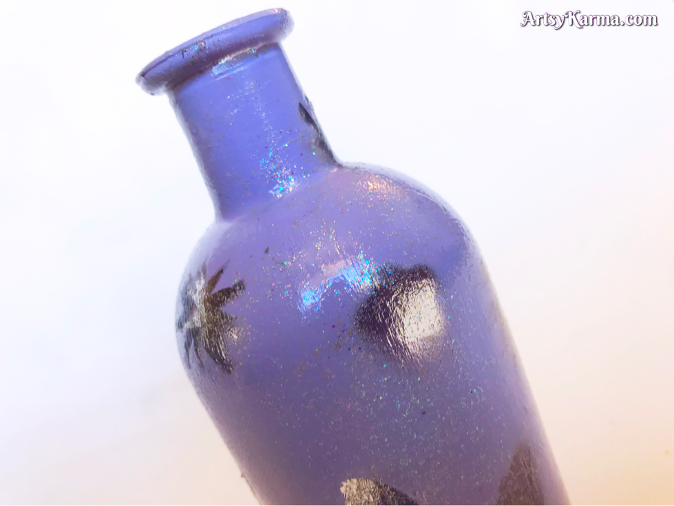 Painted wine bottle with lights