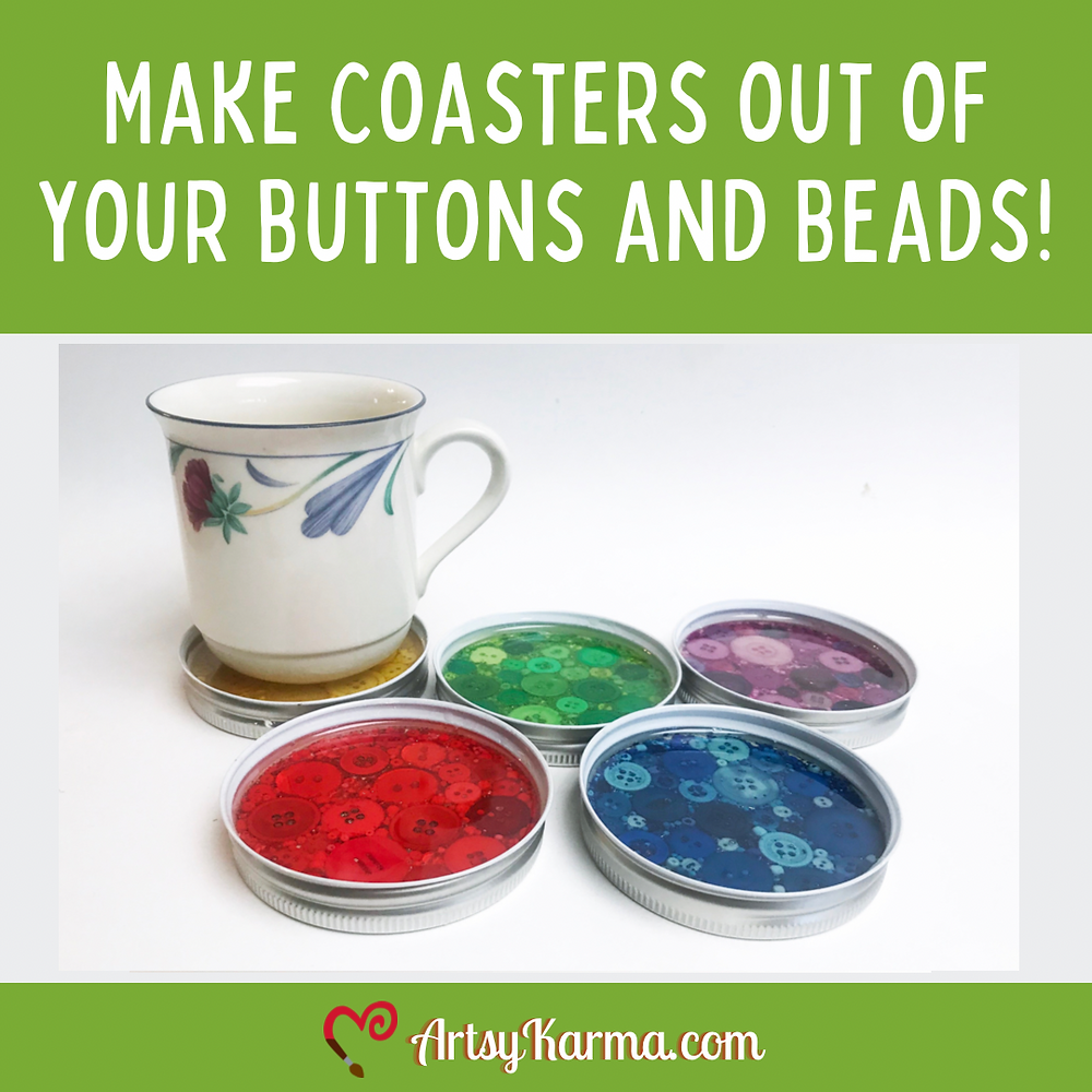 Make coasters out of your button and beads.