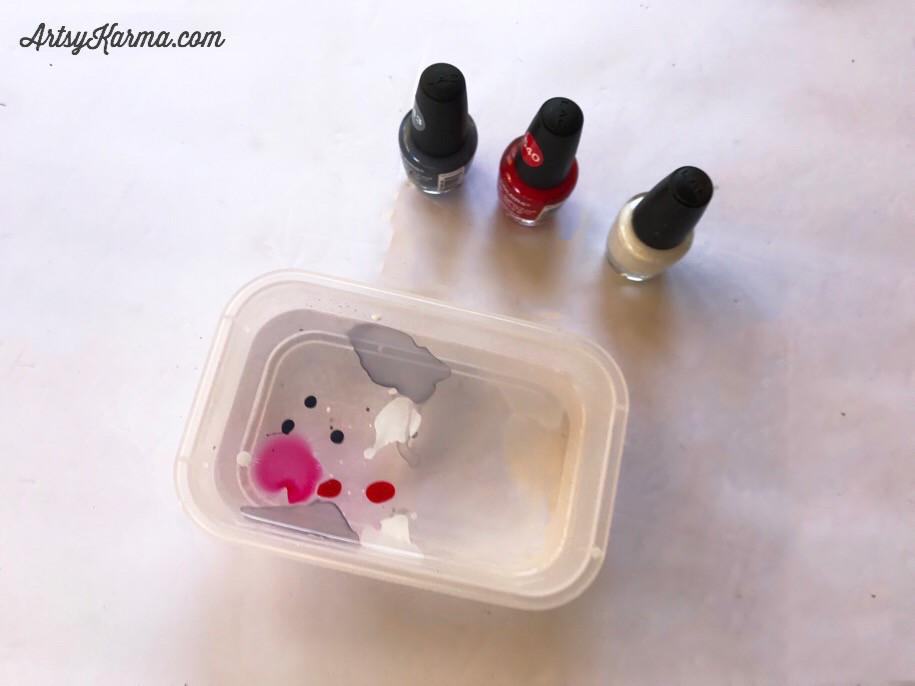 use 3 colors of nail polish to marble