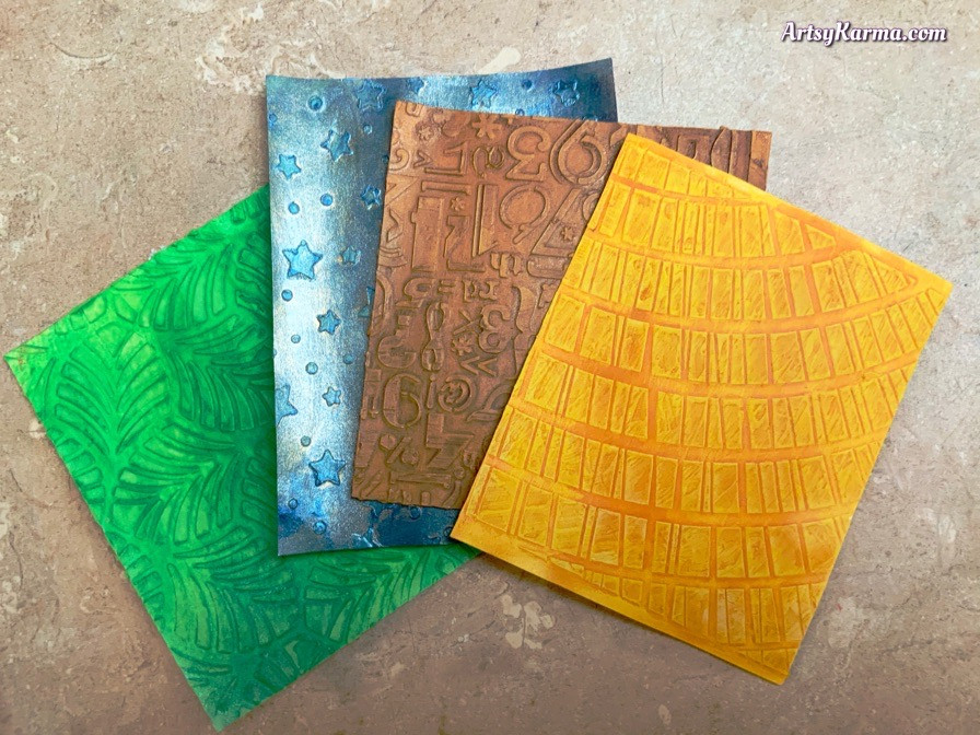 Learn how to make these Artis trading card backgrounds using texture paste