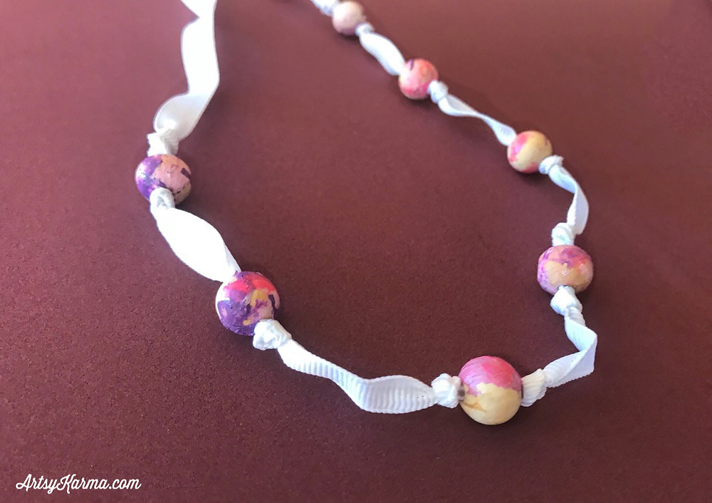 knotted ribbon necklace diy