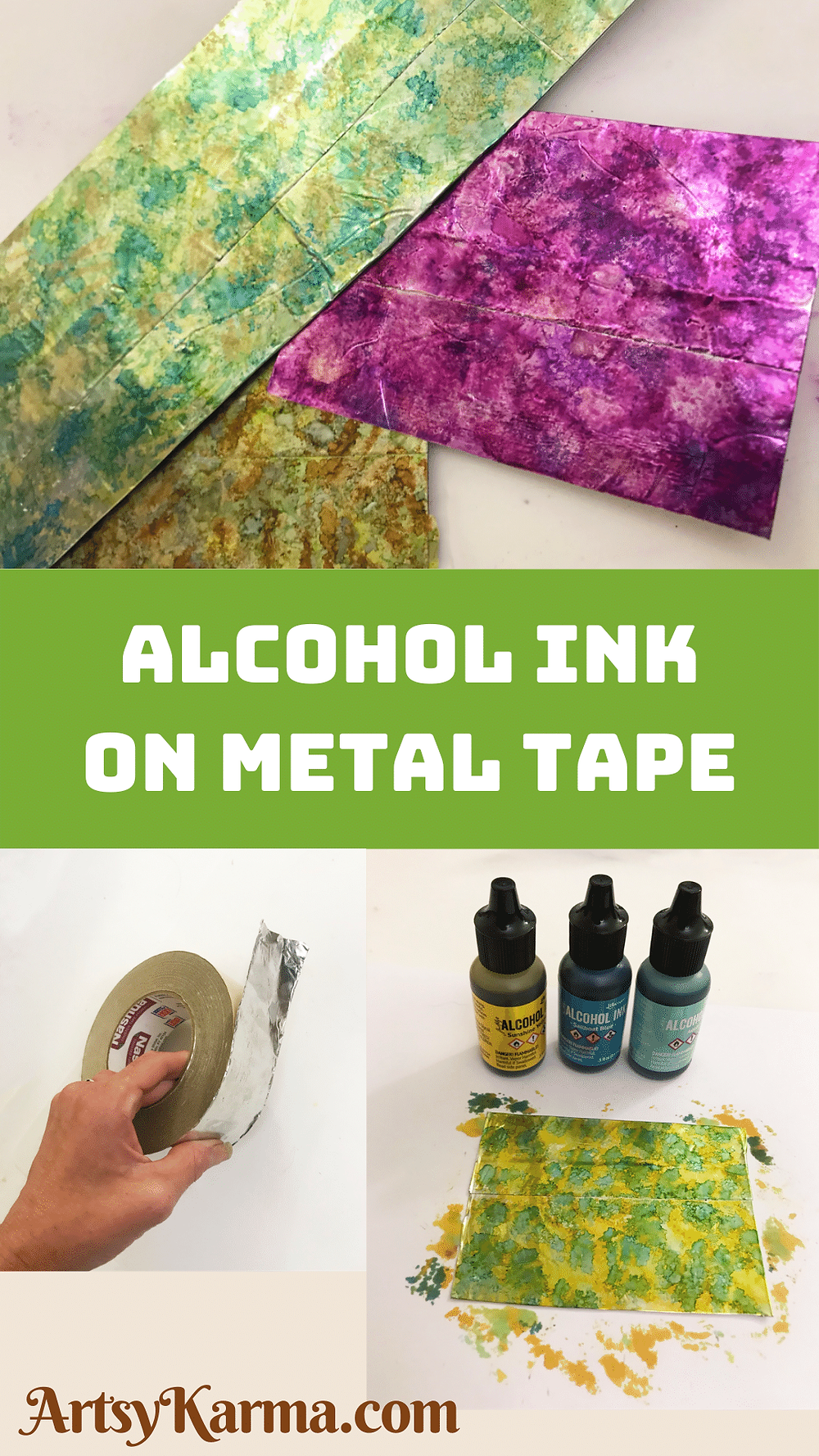 alcohol ink on metal tape