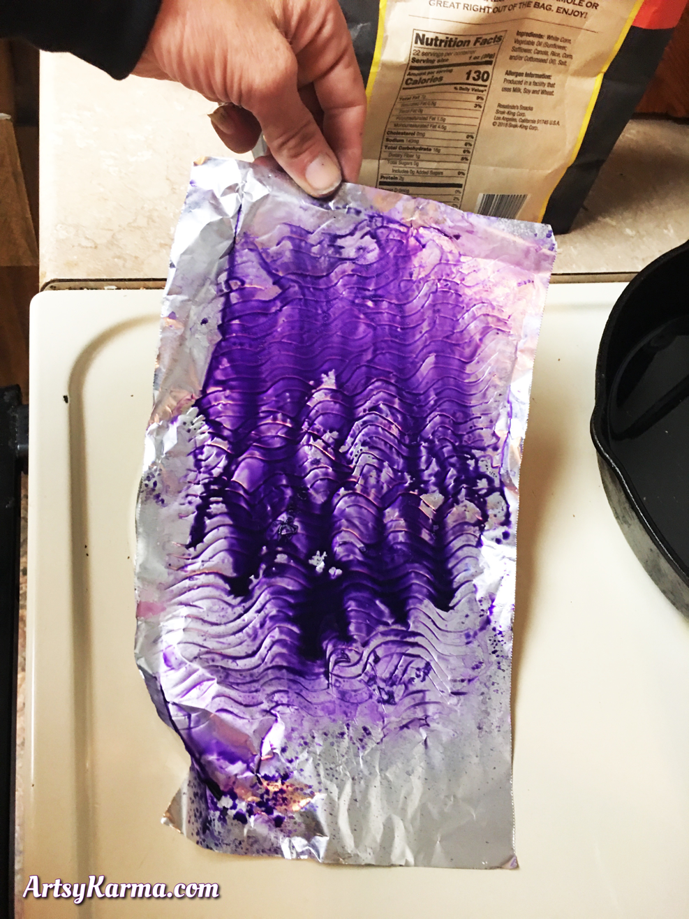 Spreading ink on foil for a mixed media background technique