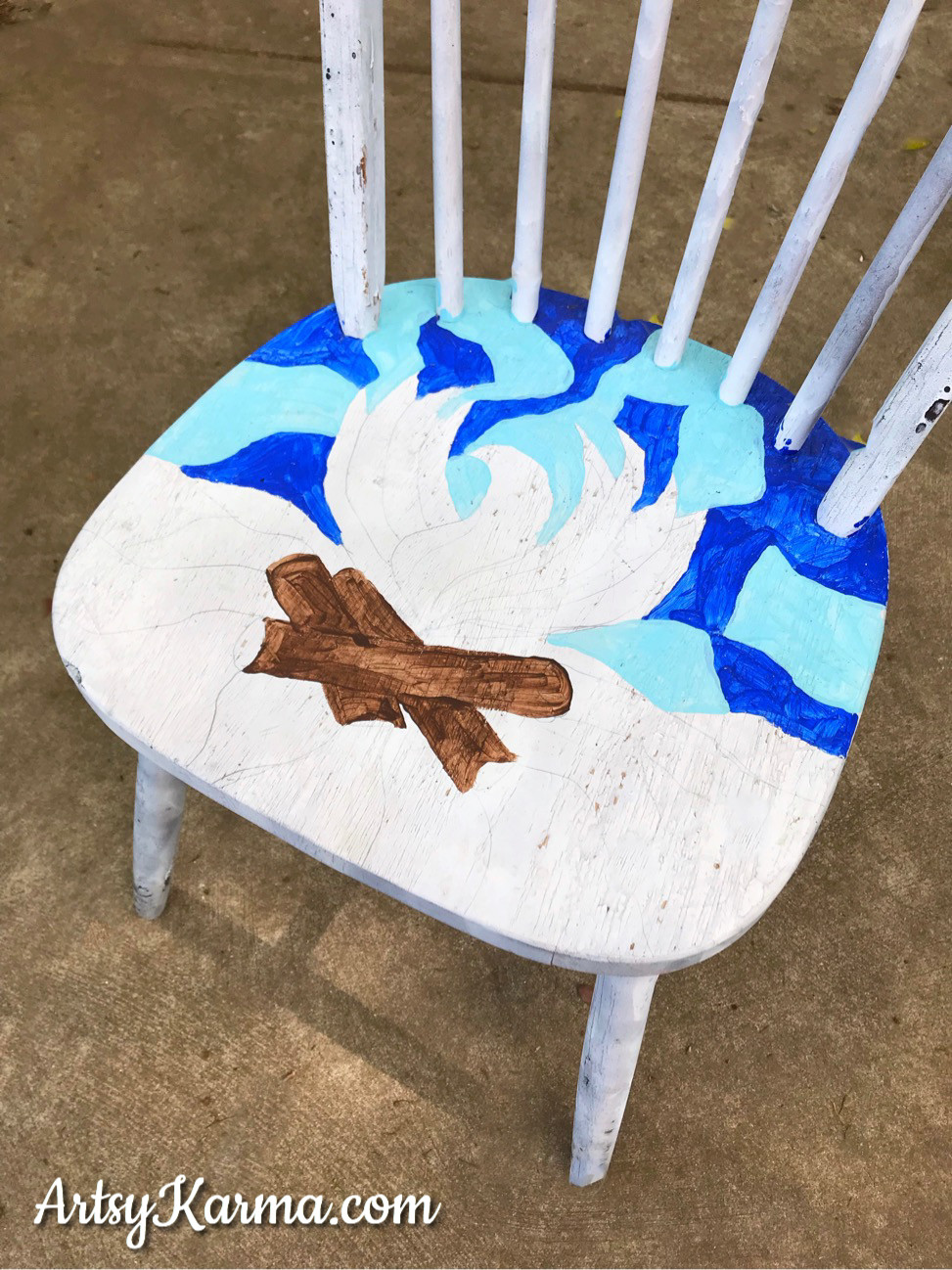 paint camp fire design on chair