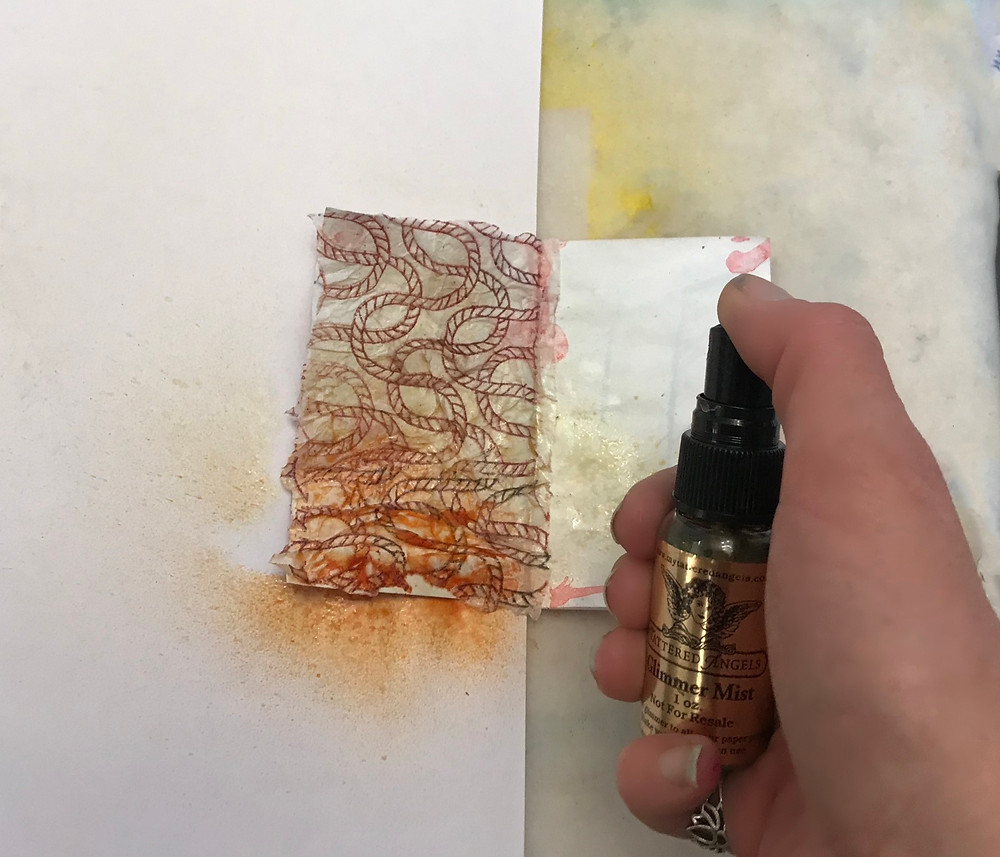 inks sprays on tissue for mixed media background