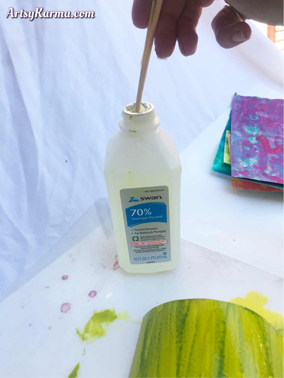Rubbing alcohol for painting