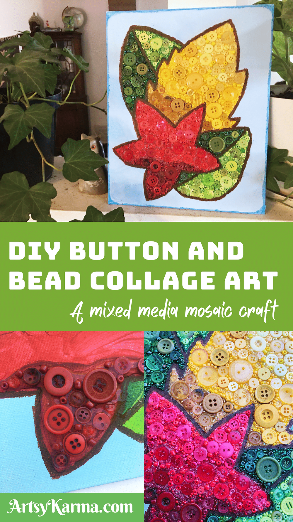 DIY button and bead collage art