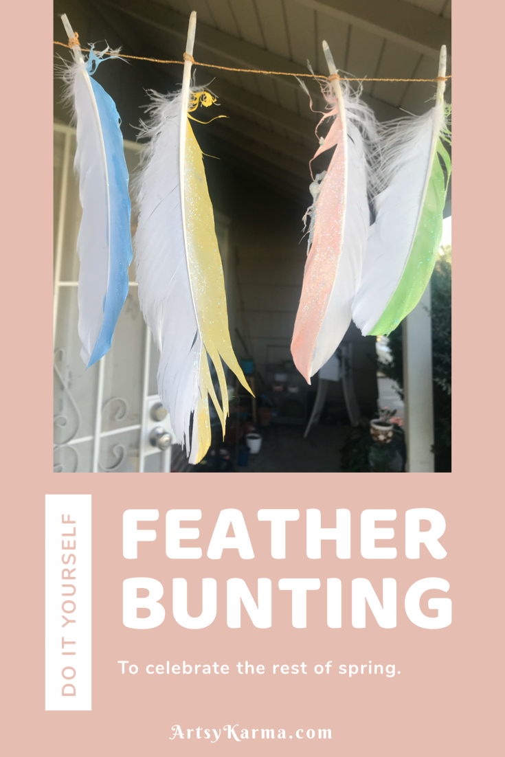diy feather bunting for spring