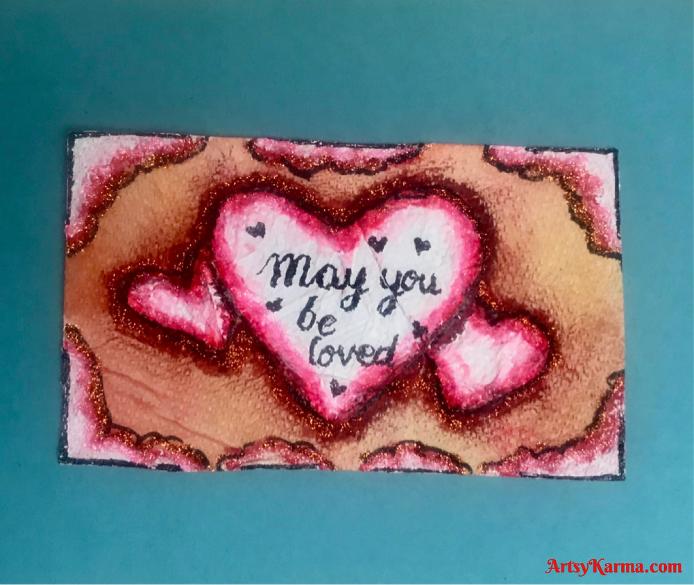 altered index card using the mica powder backgrounds