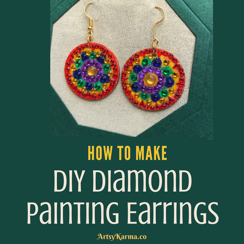 Faux diamond painted earrings