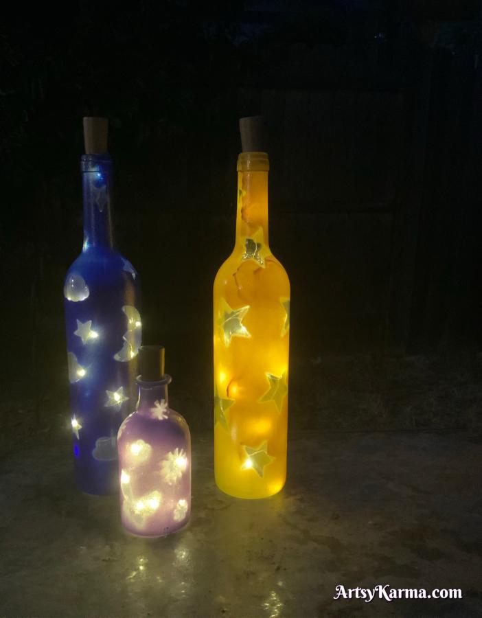 Lights inside a decorated wine bottle diy
