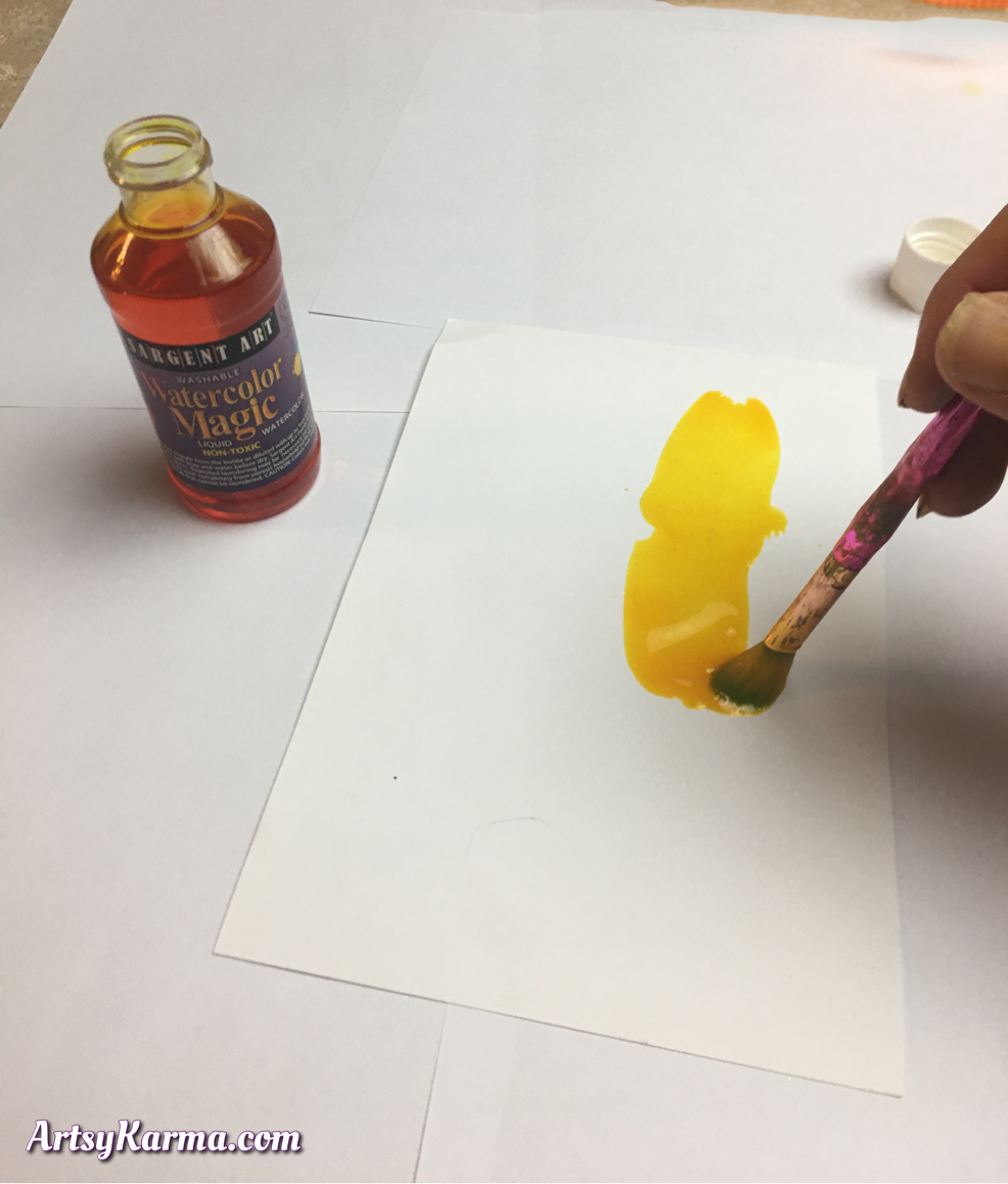 Start your background with a layer of liquid watercolors