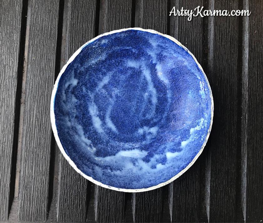 spreading glaze on diy ring dish