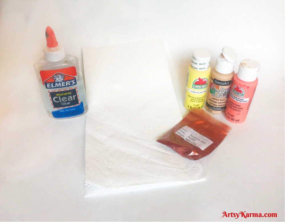 supplies to make mica on paper towels background technique