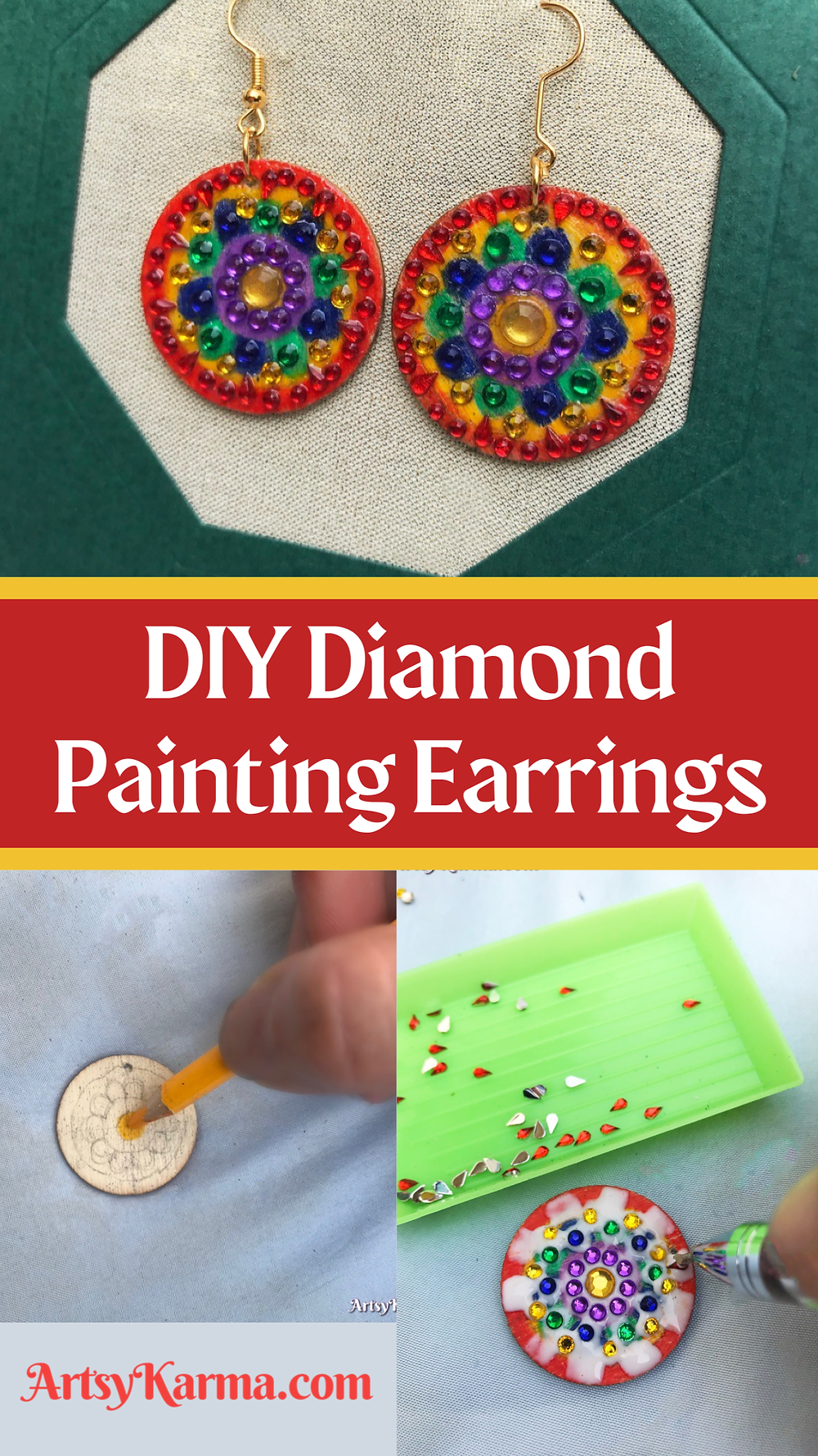 Diy diamond painting earrings easy