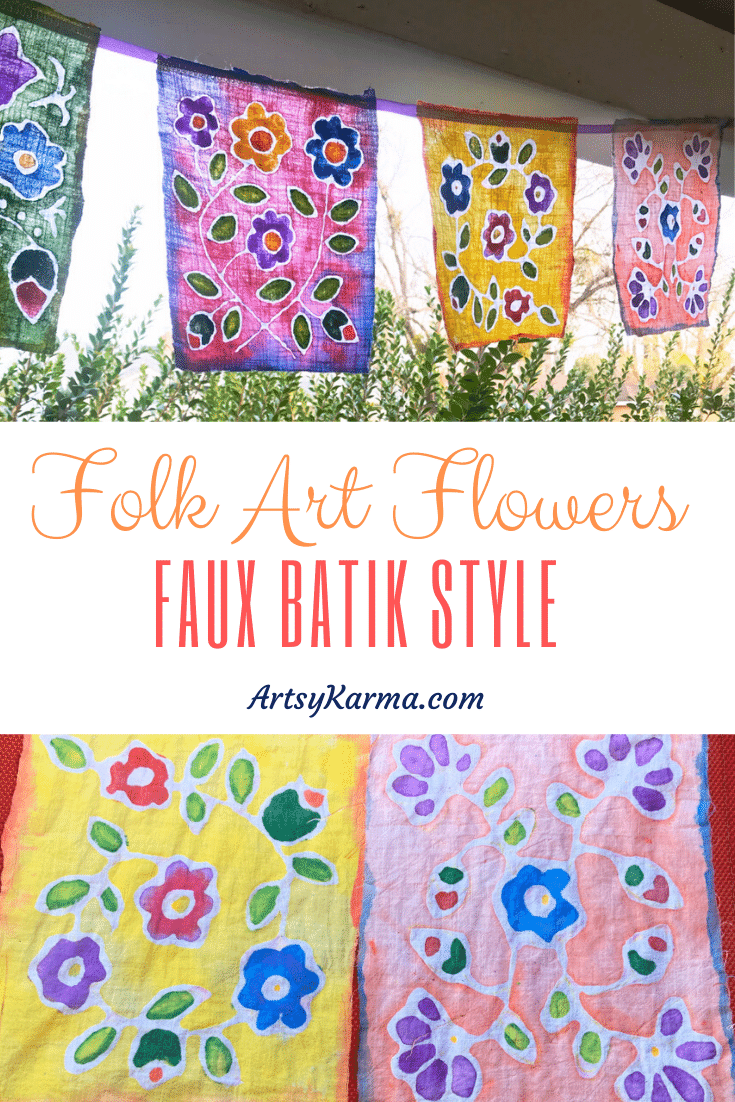 folk art flowers faux batik style