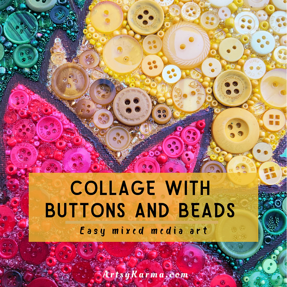 Collage with buttons and beads for canvas art