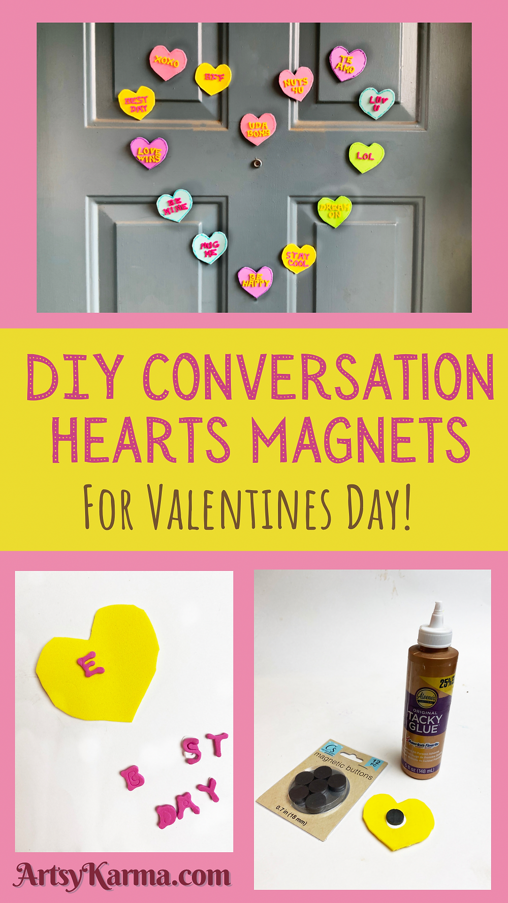 DIY conversation hearts magnets for valentines day