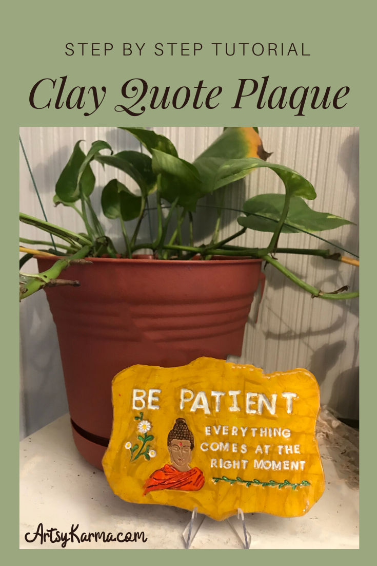 step by step tutorial clay quote plaque