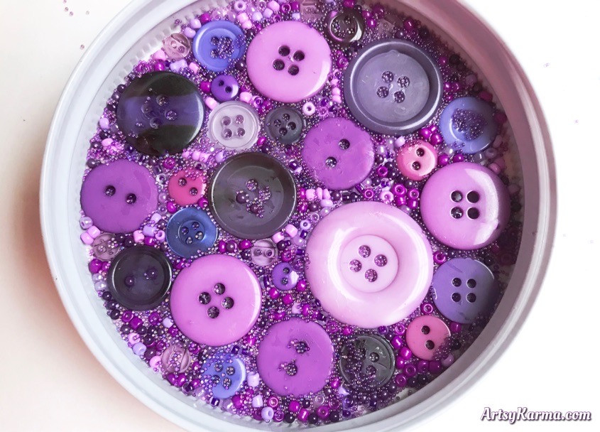 DIY button bead collage for a coaster