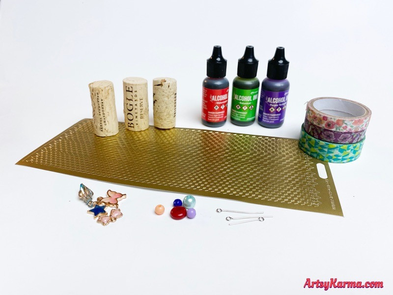 Supplies to make wine cork ornaments