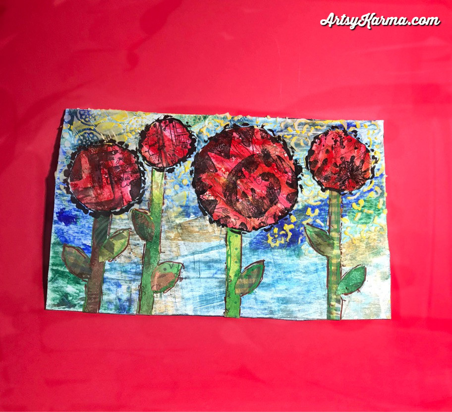 mixed media postcard using Credit card painting technique
