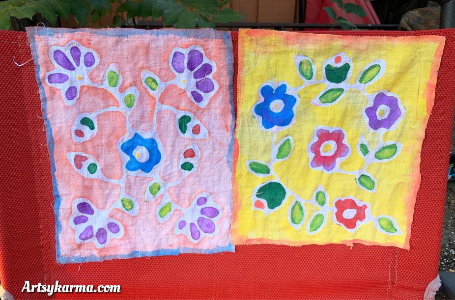 designs made using faux batik glue method