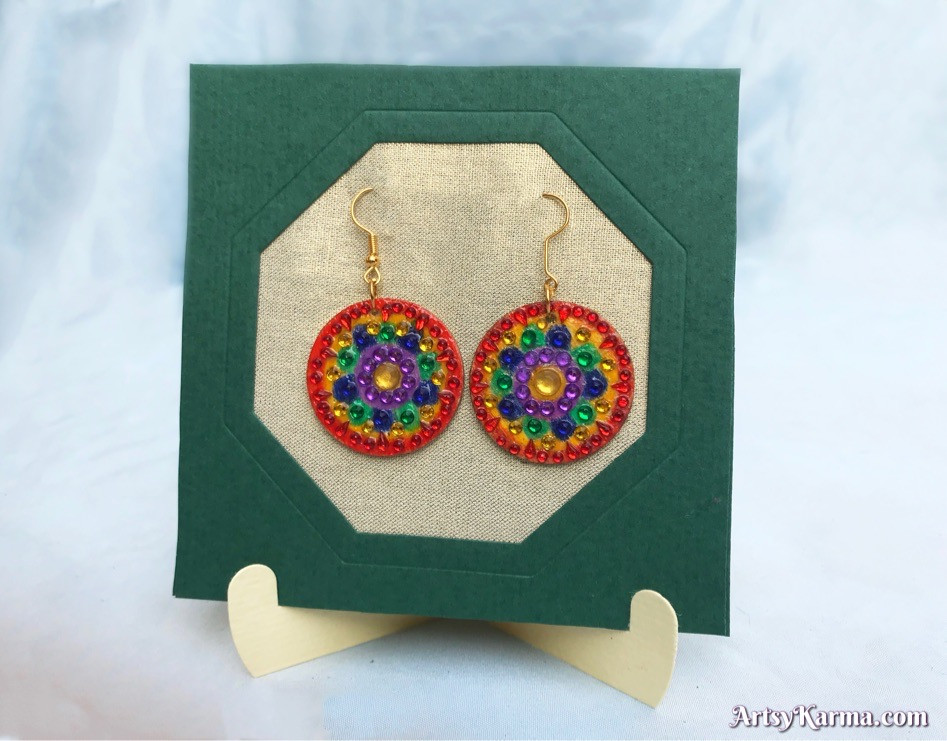 Rainbow rhinestone mandala earrings diy
