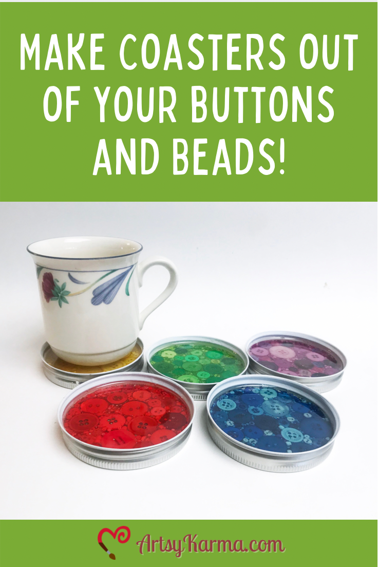 DIY coasters out of your buttons and beads