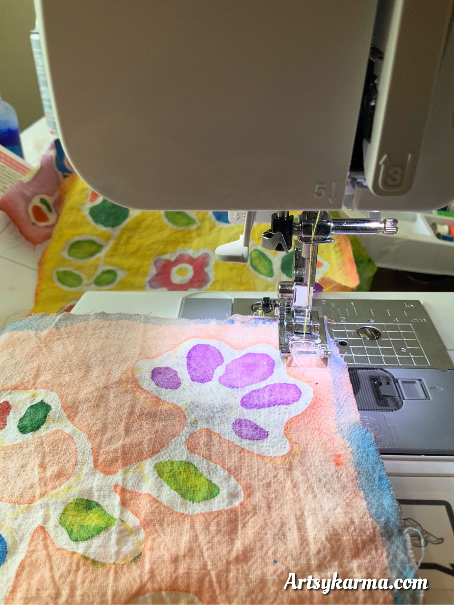 use a sewing machine to sew prayer flags together