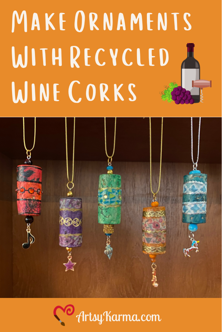 Make ornaments with recycled wine corks